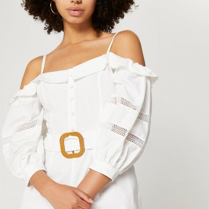 RIVER ISLAND White bardot belted lace trim playsuit ~ strappy cold shoulder playsuits - flipped