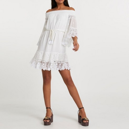 RIVER ISLAND White bardot lace dress ~ semi sheer off the shoulder dresses - flipped