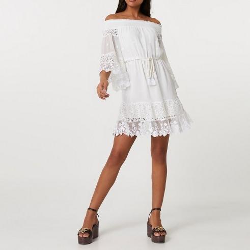 RIVER ISLAND White bardot lace dress ~ semi sheer off the shoulder dresses