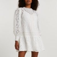 RIVER ISLAND White lace long sleeve mini dress ~ semi sheer puff sleeve dresses