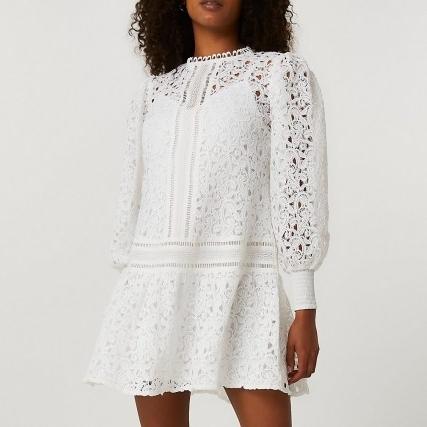 RIVER ISLAND White lace long sleeve mini dress ~ semi sheer puff sleeve dresses - flipped