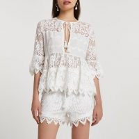White long sleeve lace tie front blouse ~ semi sheer boho blouses
