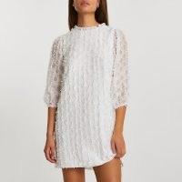 RIVER ISLAND White long sleeve textured shift dress / retro spot pattern dresses
