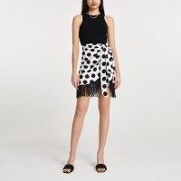 River Island White polka dot fringe hem skirt | fringed hem wrap skirts with tie detail