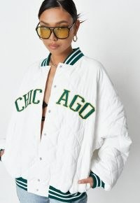 MISSGUIDED white quilted oversized chicago varsity jacket ~ trending American style jackets