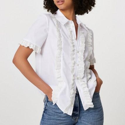 RIVER ISLAND White short sleeve broderie frill shirt ~ feminine ruffled trim shirts - flipped