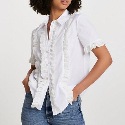 RIVER ISLAND White short sleeve broderie frill shirt ~ feminine ruffled trim shirts