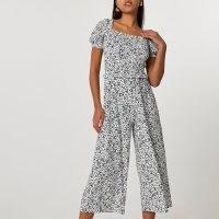 RIVER ISLAND White short sleeve shirred front jumpsuit / monochrome spot print crop leg jumpsuits