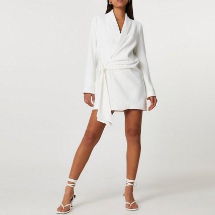 RIVER ISLAND White soft belted blazer dress ~ glamorous tie waist jacket dresses - flipped