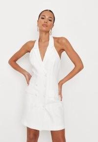 MISSGUIDED white tailored halterneck blazer dress ~ glamorous halter dresses