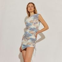 RIVER ISLAND White tie dye ruched side dress / gathered dresses