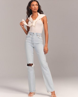Abercrombie 90s Ultra High Rise Straight Jeans – Vintage Stretch Denim - flipped
