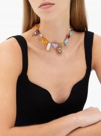 DANIELA VILLEGAS Wonderland multi-stone, pearl & 18kt gold choker / chunky gemstone statement chokers