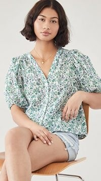XIRENA Sydell Shirt in Leaf ~ green floral puff sleeve shirts