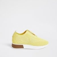 RIVER ISLAND Yellow knitted sock runner trainers / textured fabric trainer