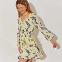 RIVER ISLAND Yellow long sleeve floral broderie dress