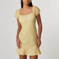 River Island Yellow puff sleeve gingham dress | pephem dresses | peplum hemlines