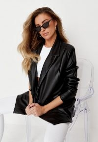 zara mcdermott x missguided black soft faux leather oversized blazer ~ on trend jackets ~ double breasted blazers