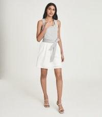 REISS ZETA JERSEY TOP MINI DRESS WHITE/GREY