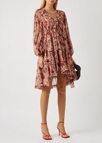 ZIMMERMANN Cassia floral-print silk-chiffon mini dress / balloon sleeve high low hem dresses