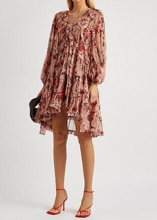 ZIMMERMANN Cassia floral-print silk-chiffon mini dress / balloon sleeve high low hem dresses - flipped