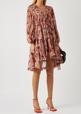 ZIMMERMANN Cassia floral-print silk-chiffon mini dress / balloon sleeve high low hem dresses