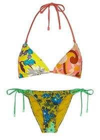 ZIMMERMANN Estelle printed halterneck bikini ~ mixed print floral triangle bikinis ~ tie side bottoms