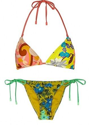 ZIMMERMANN Estelle printed halterneck bikini ~ mixed print floral triangle bikinis ~ tie side bottoms - flipped