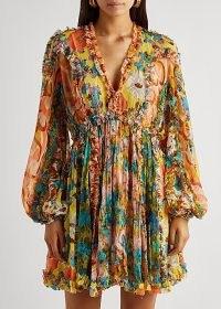 ZIMMERMANN Estelle printed silk-chiffon mini dress ~ romantic ruffle trim balloon sleeve dresses