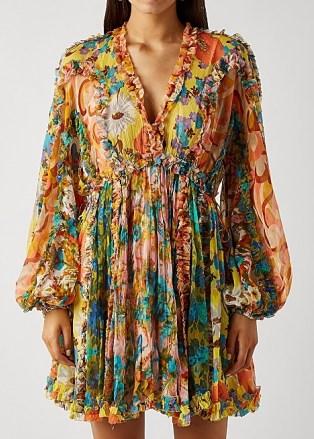 ZIMMERMANN Estelle printed silk-chiffon mini dress ~ romantic ruffle trim balloon sleeve dresses - flipped