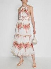 Zimmermann Mae tiered pleated dress – floral halterneck summer dresses