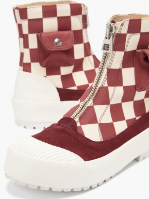 JW ANDERSON Zipped check cotton-canvas boots / chunky red checked front zip ankle boot - flipped