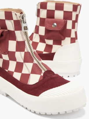 JW ANDERSON Zipped check cotton-canvas boots / chunky red checked front zip ankle boot