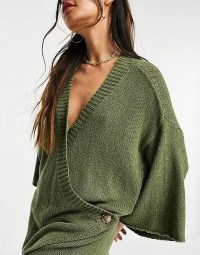 Zulu & Zephyr Exclusive knitted wrap over beach playsuit in khaki