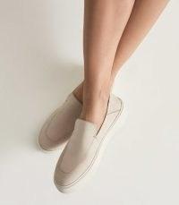 ACER NUBUCK SLIP-ON LOAFERS ECRU / women's casual flats / womens footwear