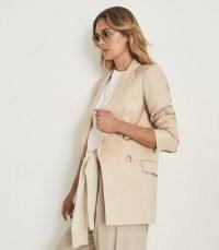 REISS AILA WOOL LINEN BLEND DOUBLE BREASTED BLAZER NEUTRAL ~ women's chic longline jackets