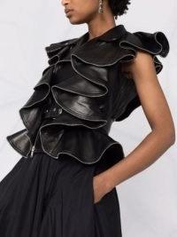 Alexander McQueen belted ruffled black-leather jacket ~ ruffle detail jackets