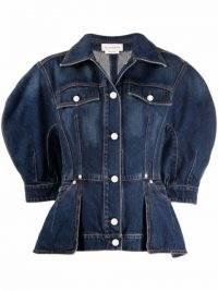 Alexander McQueen structured denim jacket / womens puff sleeve fitted waist jackets