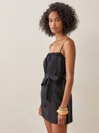 REFORMATION Ama Linen Dress in Black   strappy LBD   spaghetti strap mini dresses   womens summer fashion