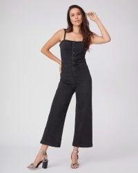 PAIGE Anessa Ankle Culotte Jumpsuit Dark Matter | black denim strappy crop leg jumpsuits