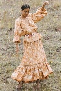 SPELL DESIGNS ANNE MAXI SKIRT Peach | organic cotton frill hem skirts | floral print fashion | womens boho clothing | bohemian style