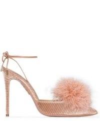 Aquazzura Boudoir 105mm feather-detail pumps – pink luxe heels