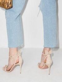 Aquazzura Bow Tie 105mm suede sandals – strappy nude luxe high heels