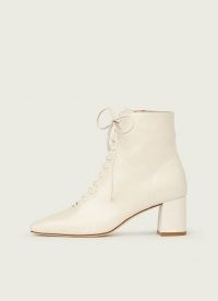 L.K. BENNETT ARABELLA CREAM LEATHER LACE-UP ANKLE BOOTS ~ women's luxe footwear