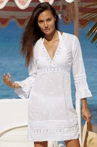 Aspiga PRIMROSE ORGANIC COTTON LACE KAFTAN ~ white kaftans ~ feminine beachwear cover ups ~ women's pool fashion ~ poolside fashion
