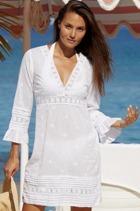 Aspiga PRIMROSE ORGANIC COTTON LACE KAFTAN ~ white kaftans ~ feminine beachwear cover ups ~ women's pool fashion ~ poolside fashion - flipped