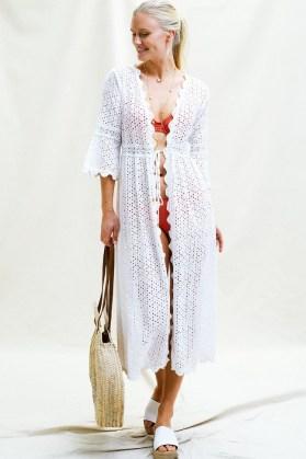 Aspiga TINA ORGANIC COTTON OPEN FRONT LACE MAXI KAFTAN WHITE ~ poolside kaftans ~ womens pool fashion ~ beachwear