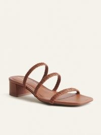 REFORMATION Assunta Strappy Block Heel Mule in Pecan ~ ruched triple strap square toe mules ~ womens brown leather sandals