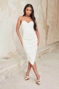 lavish alice asymmetric bustier corset midi dress in white ~ strapless fitted bodice occasion dresses