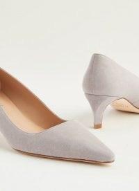 L.K. BENNETT AVA GREY SUEDE KITTEN HEEL COURTS / elegant court shoes